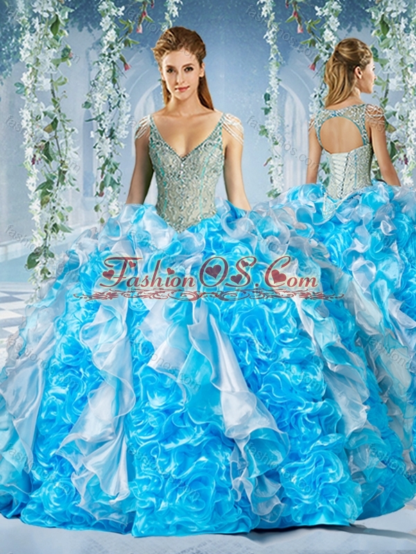 New Arrival Blue and White Quinceanera Dress in Beaded Decorated Cap Sleeves