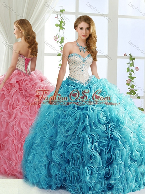 New Arrival Brush Train Beaded Baby Blue Quinceanera Dress in Rolling Flowers