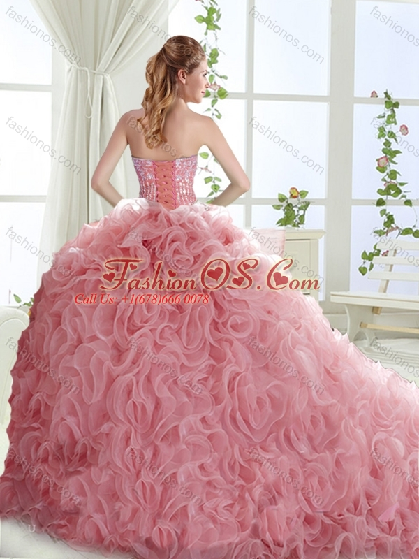 New Arrival Lovely Brush Train Mint  Quinceanera Dresses with Beading