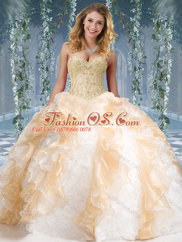 New Arrival Organze and Rolling Flowers Big Puffy Quinceanera Dress in Champagne and White