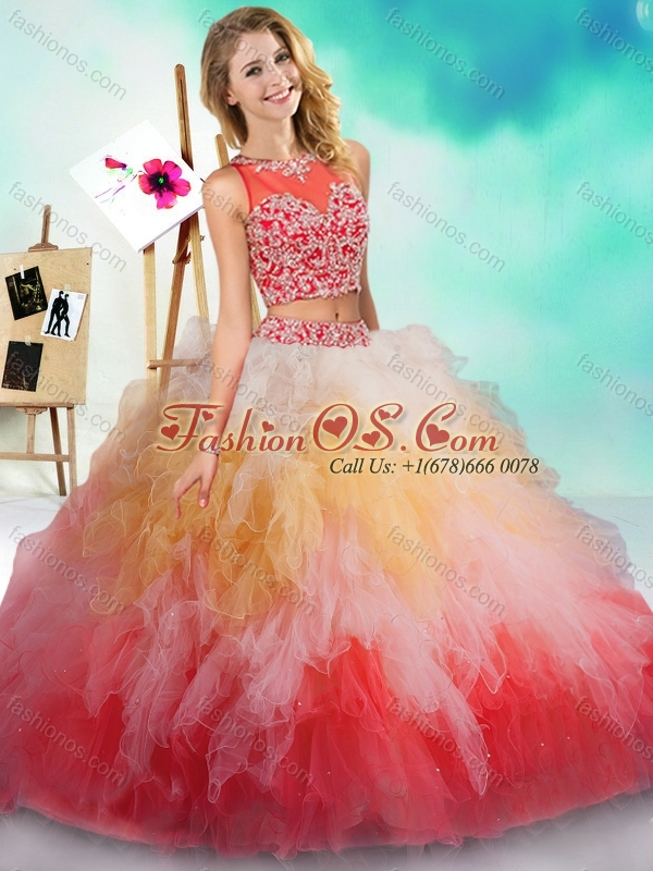 New Arrival See Through Beaded and Ruffled Quinceanera Dress in Rainbow Colored
