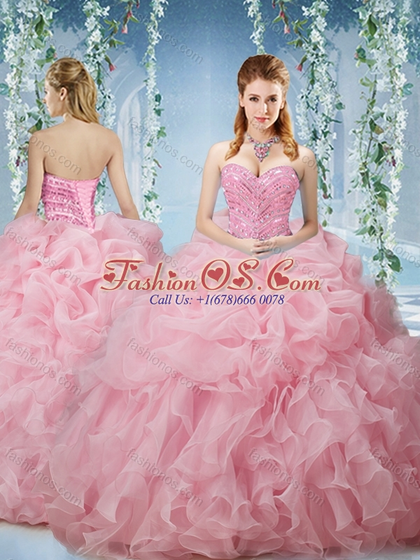 Perfect Baby Pink Brush Train Quinceanera Dresses Beaded and Ruffled