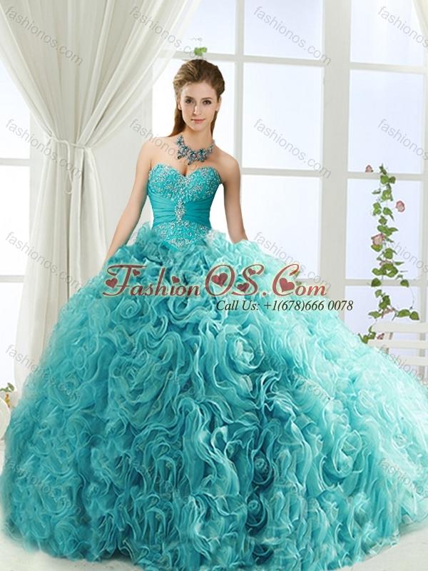 Perfect Beaded and Applique Big Puffy Detachable Quinceanera Dresses in Aqua Blue
