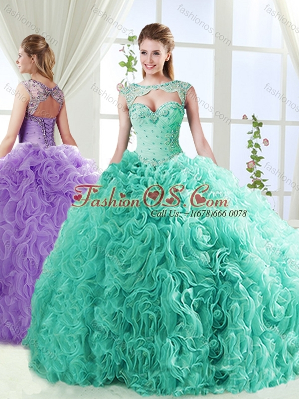 Perfect Big Puffy Brush Train Quinceanera Dresses with Beading and Appliques