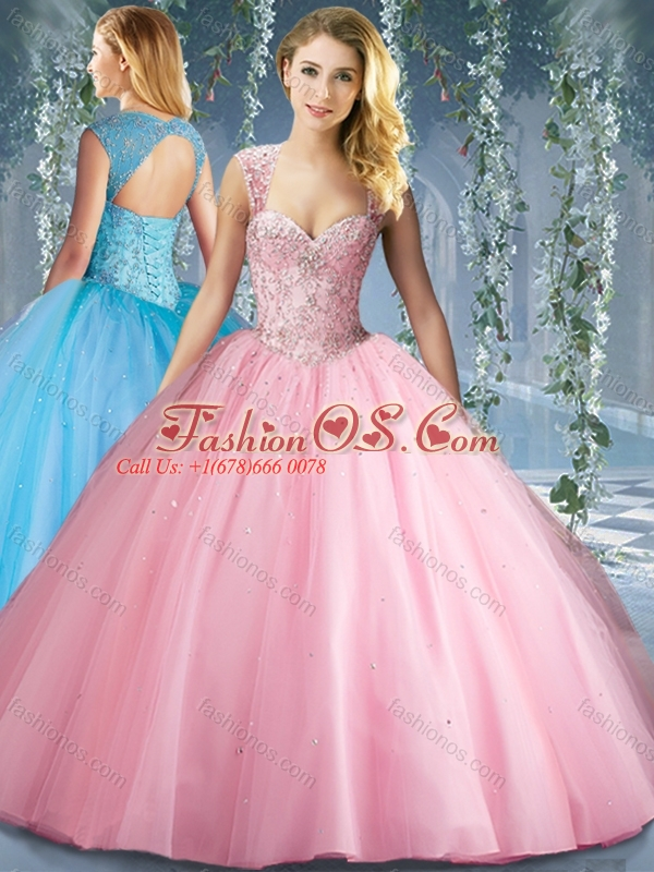 Perfect Pink Big Puffy Beaded Quinceanera Dress with Brush Train
