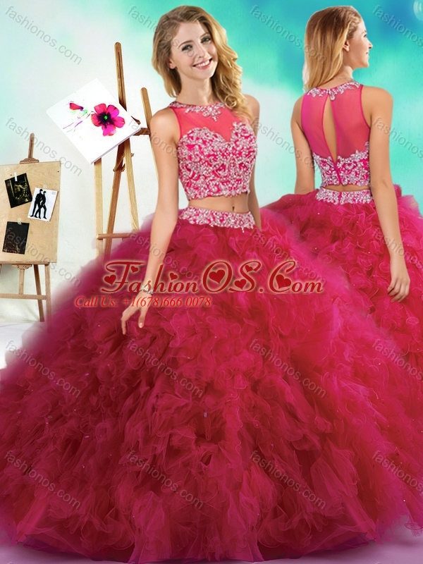 Popular Beaded and Ruffled Fuchsia Quinceanera Dress with See Through