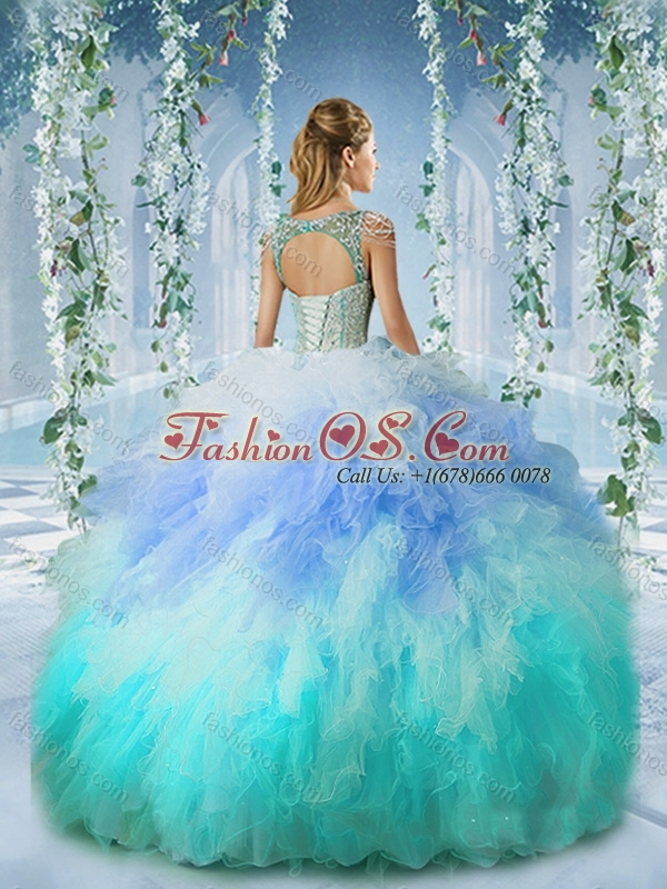 Popular Deep V Neck Cap Sleeves Quinceanera Dress with Beading and Ruffles