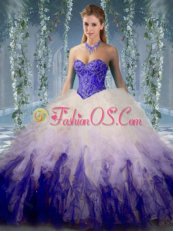 Unique Beaded and Ruffled Organza Quinceanera Gown in Gradient Color