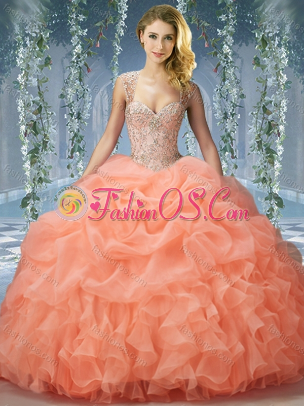 Unique Brush Train Big Puffy Quinceanera Dress With