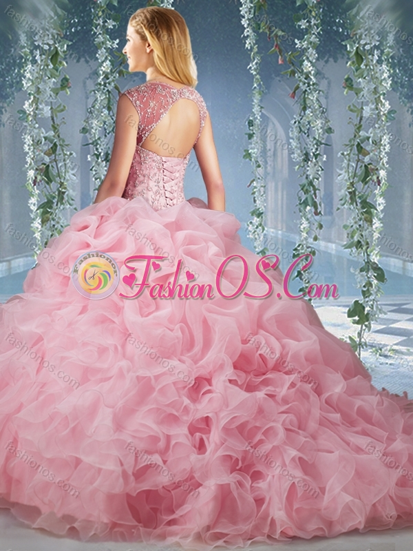 Unique Brush Train Big Puffy Quinceanera Dress with Beading and Ruffles