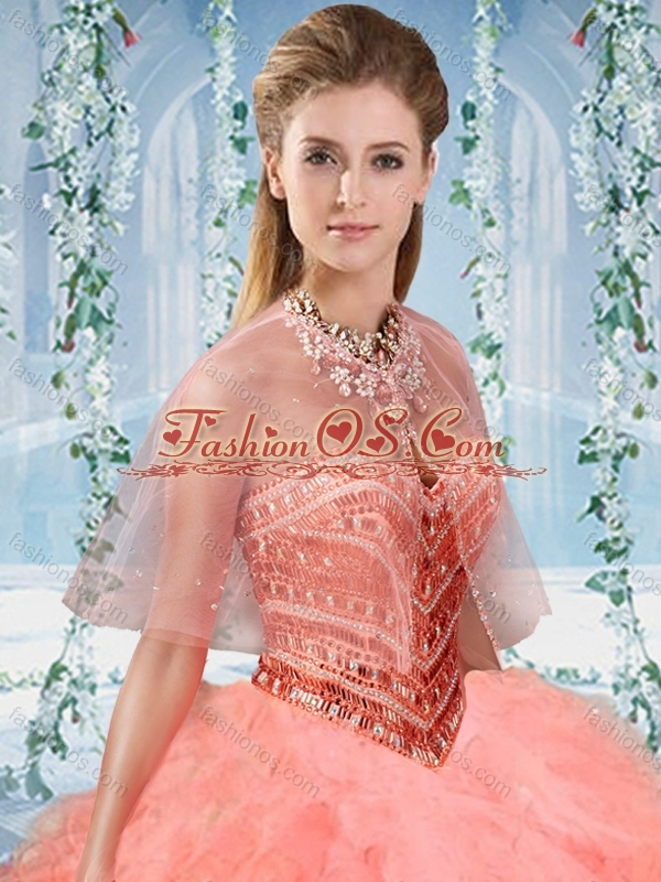 Unique Gradient Color Big Puffy Quinceanera Dress with Beading and Ruffles
