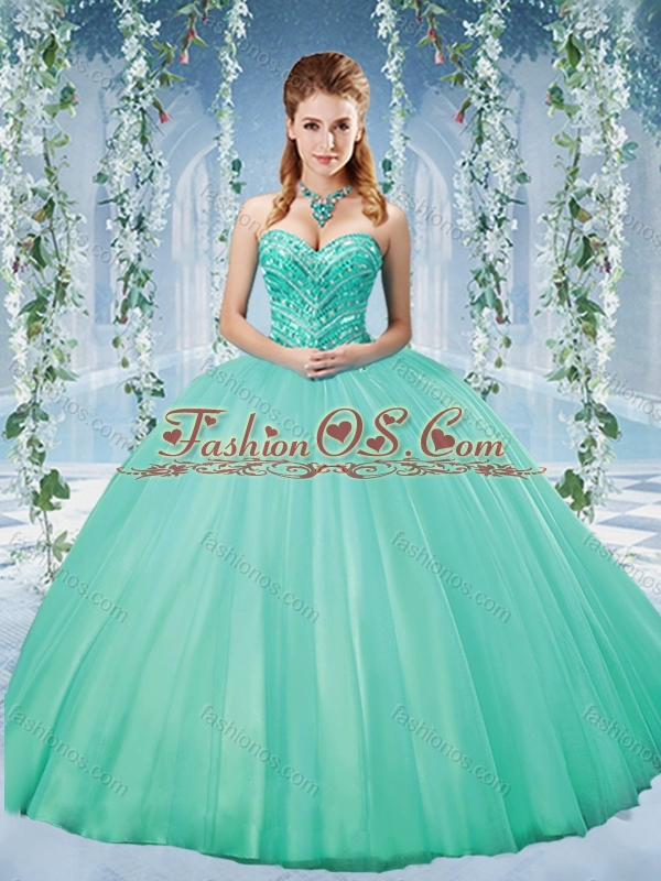 Unique Taffeta Beaded Puffy Skirt Quinceanera Dress in Turquoise