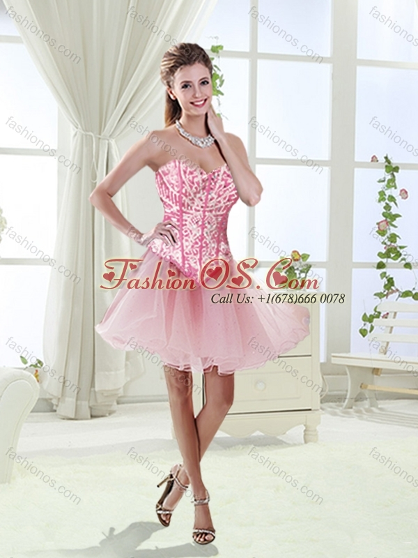Visible Boning Beaded and Applique Perfect Quinceanera Dresses in Rolling Flowers