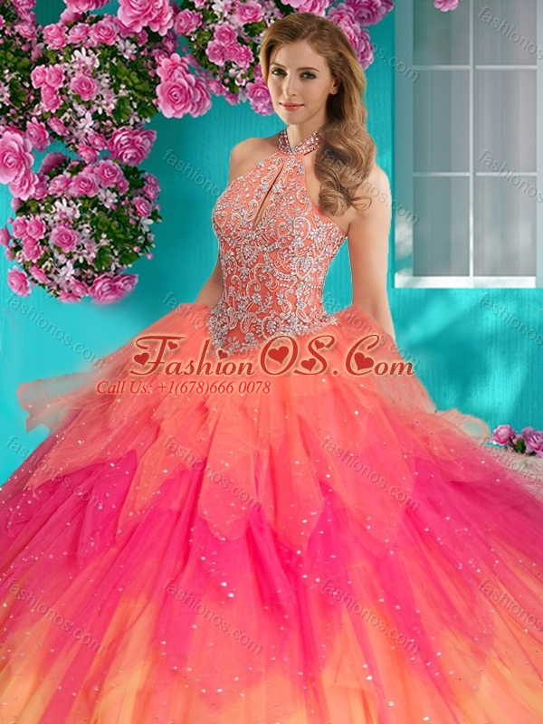 Fashionable Halter Top Rainbow 15 Quinceanera Dress with Beading and Appliques