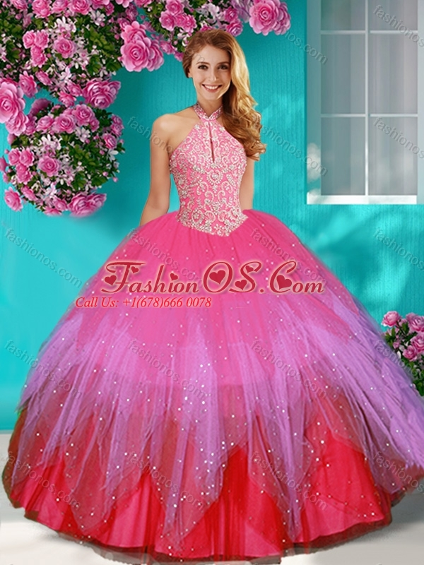 5045b3dac7f Fashionable Halter Top Rainbow 15 Quinceanera Dress with Beading and  Appliques