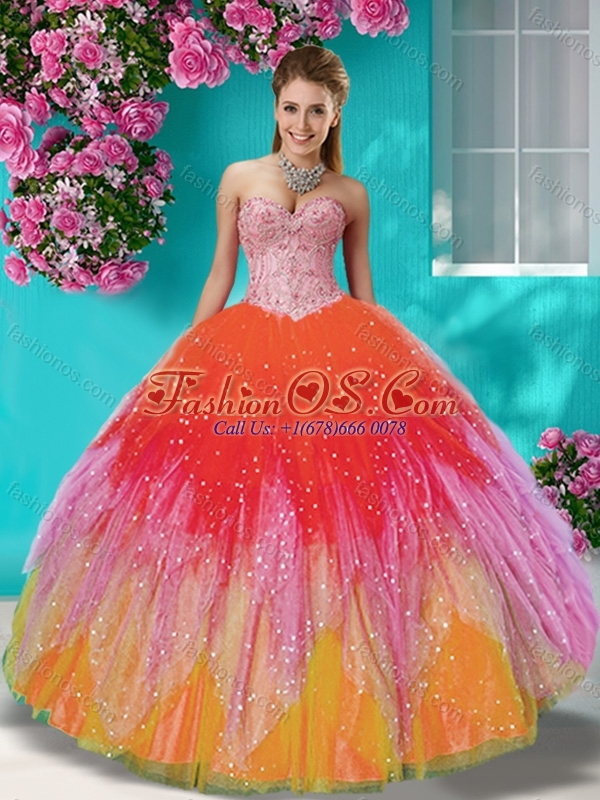 New Style Rainbow Beaded and Applique 15 Quinceanera Dress with Detachable Straps