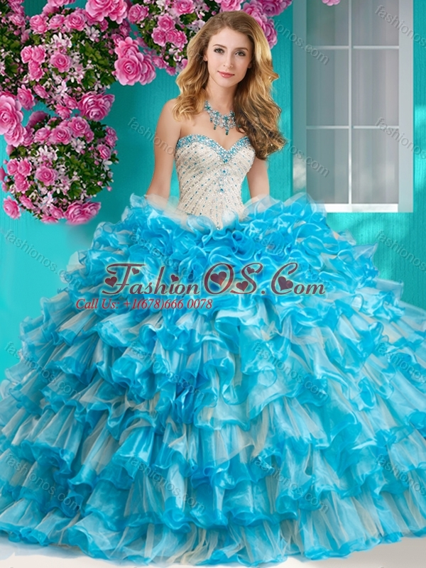 Romantic Beaded and Ruffled Layers 15 Quinceanera Dress with Really Puffy