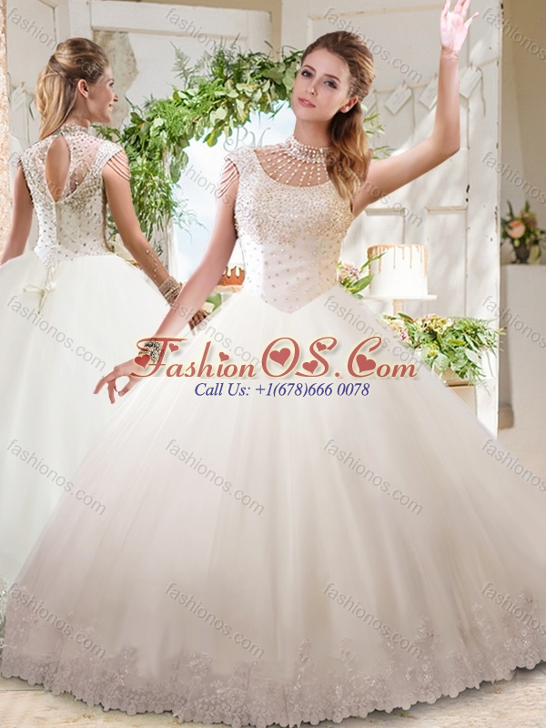 See Through Ball Gowns High Neck Lace Beaded 15 Quinceanera Dress with Zipper Up