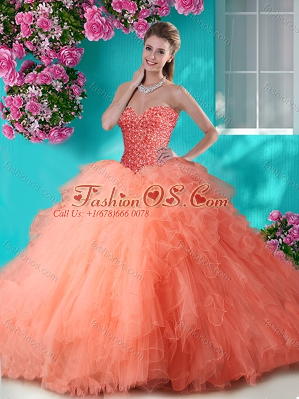 Discount Beaded and Ruffled Big Puffy Quinceanera Dress in Champagne