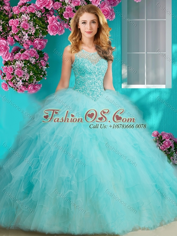 Discount Beaded and Ruffled Quinceanera Dress with See Through Scoop