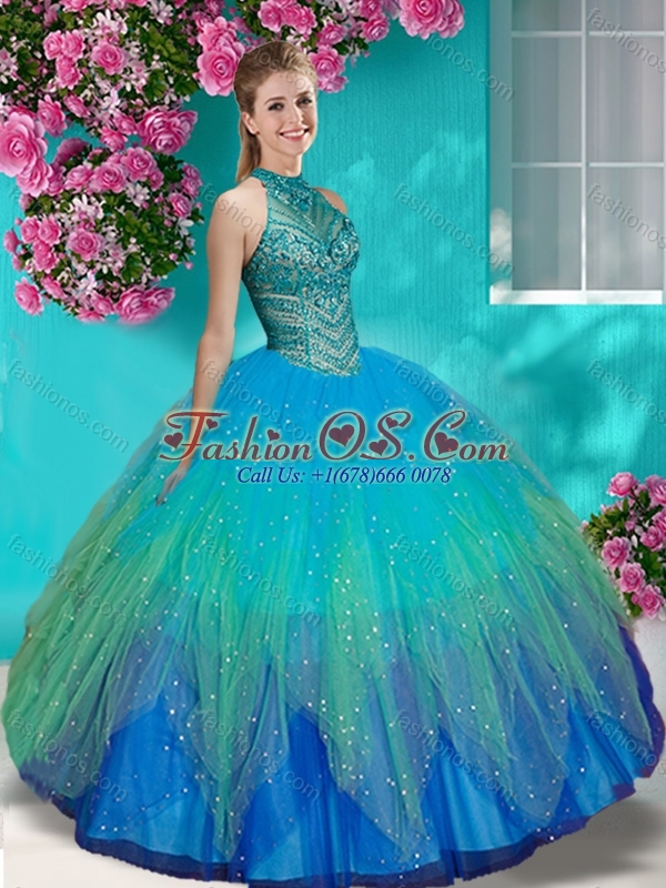 Discount See Through Halter Top Quinceanera Dress with Beading and Appliques
