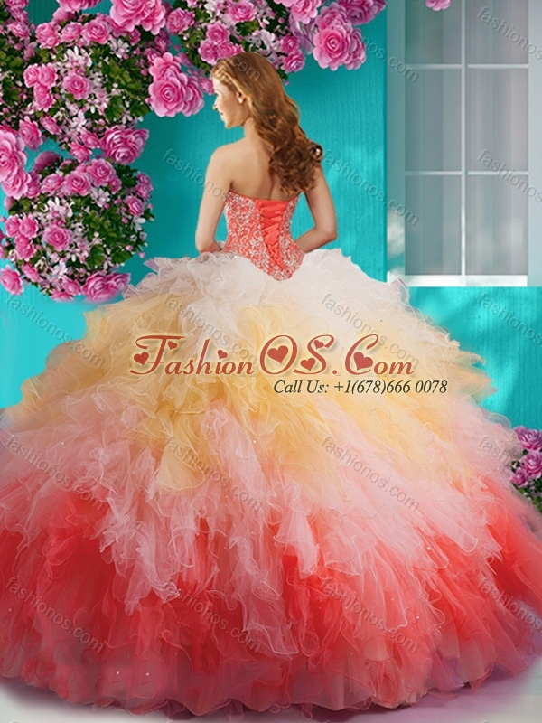 Exclusive Rainbow Halter Top Quinceanera Dress with Beading and Ruffles