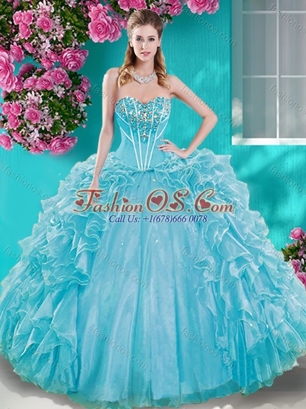 Beaded Bodice Aqua Blue Quinceanera Dresseswith Removable Skirt