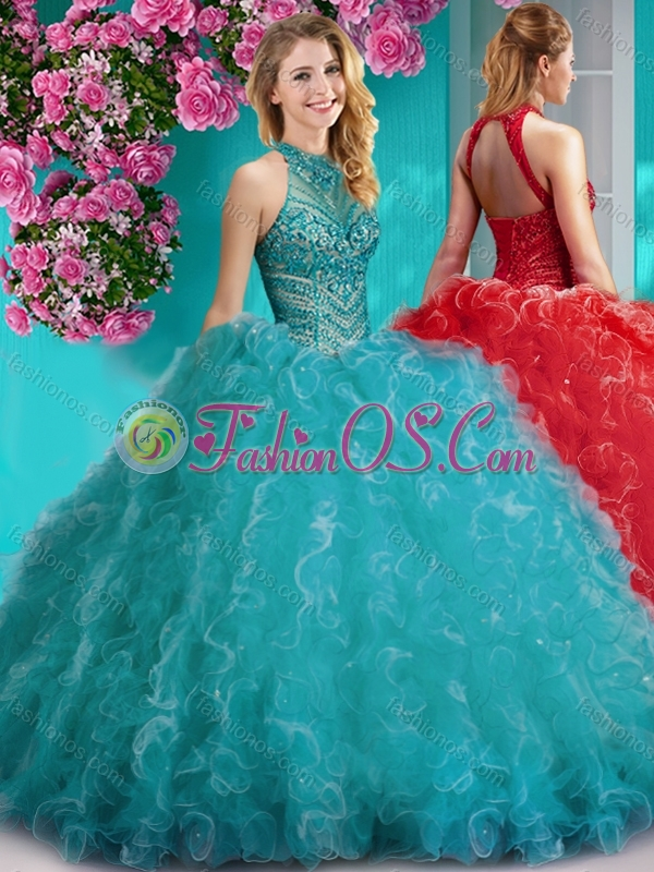 Cheap Halter Top Beaded and Ruffled Quinceanera Dress with Puffy Skirt