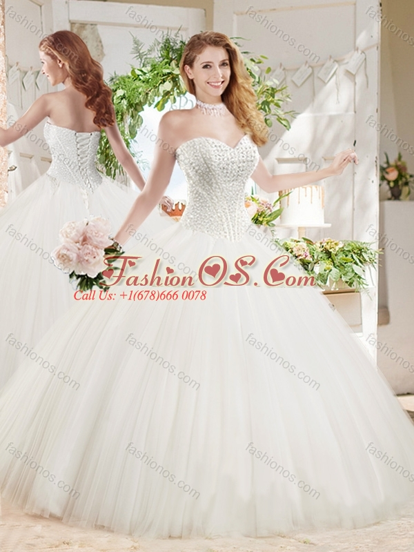 Discount White Ball Gown Sweetheart Court Train Beaded Quinceanera ...