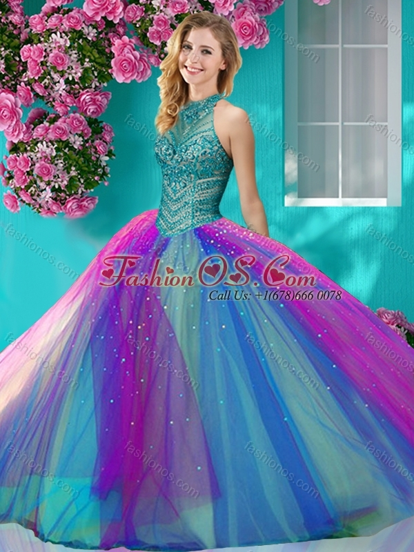 Exclusive Halter Top Really Puffy Quinceanera  Dress with Beading and Appliques