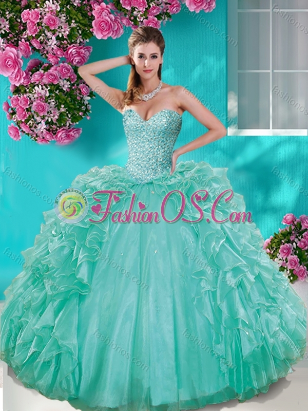 Fashionable Beaded and Ruffled Taffeta Quinceanera Dress in Really Puffy