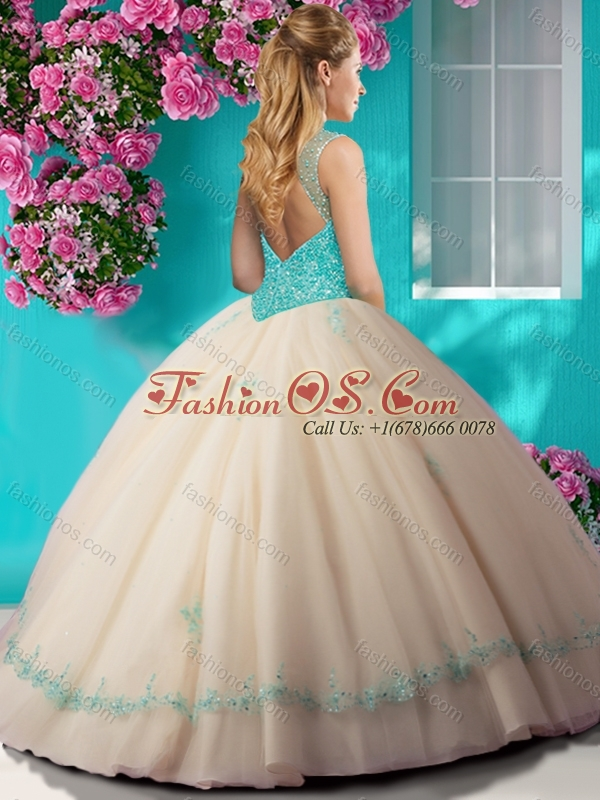 New Arrival Beaded and Applique Quinceanera Dress with See Through Scoop