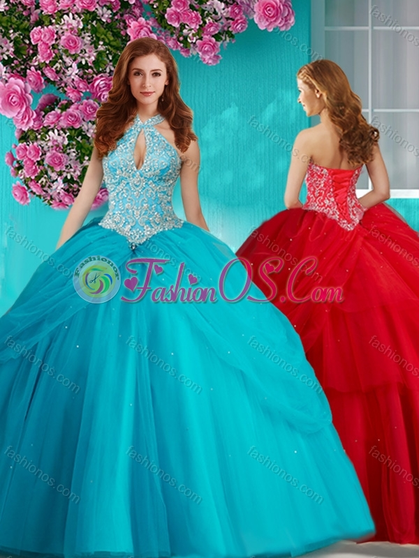 New Arrival Halter Top Brush Train Quinceanera Dress with Beading and Appliques
