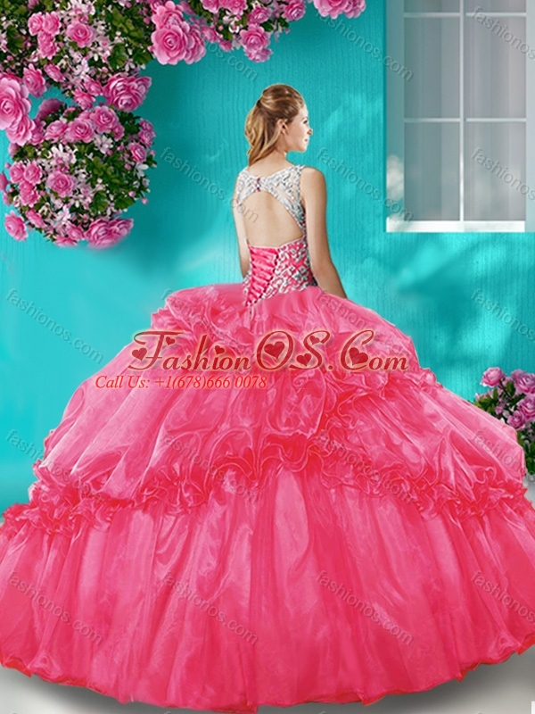 New Arrival Puffy Beaded Bodice Scoop Organza Quinceanera Gown in Brown