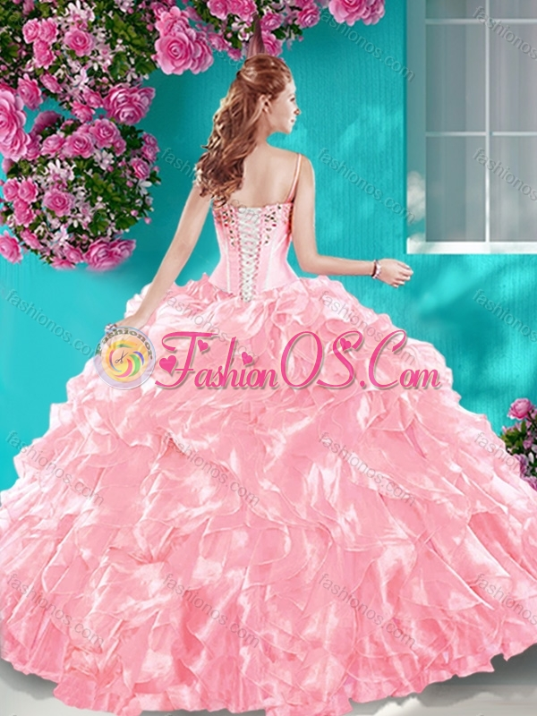 New Arrival Puffy Skirt Ruffled and Beaded Quinceanera Dress in Turquoise