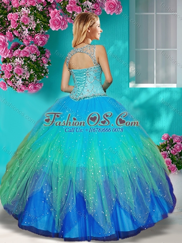 New Arrival See Through Beaded Scoop Quinceanera Dress in Multi Color