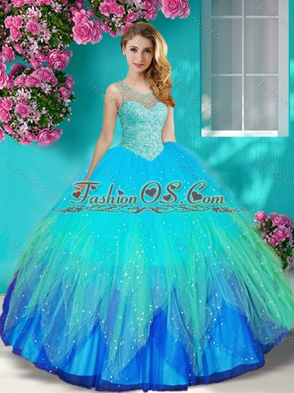 New Arrival See Through Beaded Scoop Quinceanera Dress with Backless