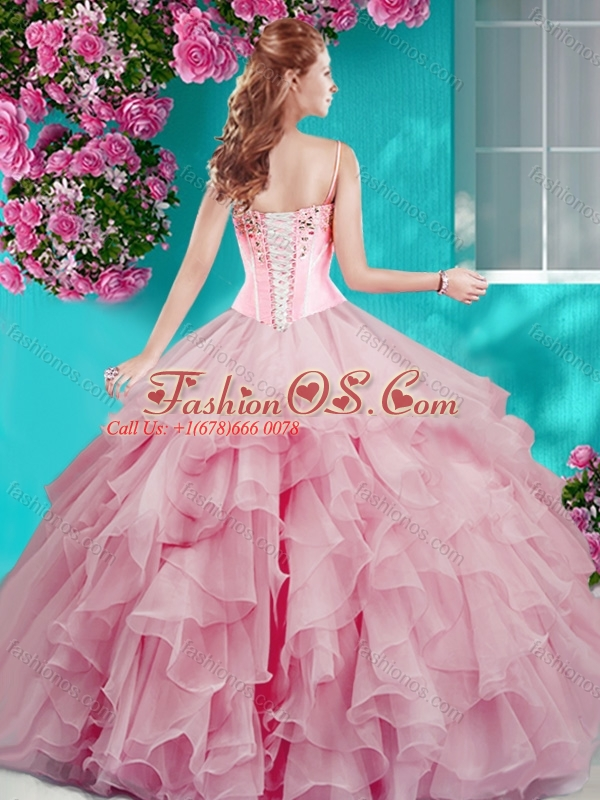 Perfect Puffy Skirt Beaded and Ruffled Quinceanera Dress in Aqua Blue