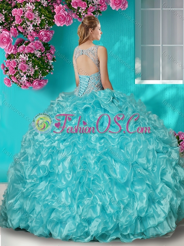 Beautiful Beaded and Ruffled Quinceanera Dress with See Through Scoop