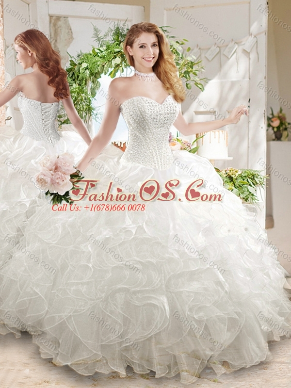 Discount Ball Gown Sweetheart White Quinceanera Dress with Beading and Ruffled