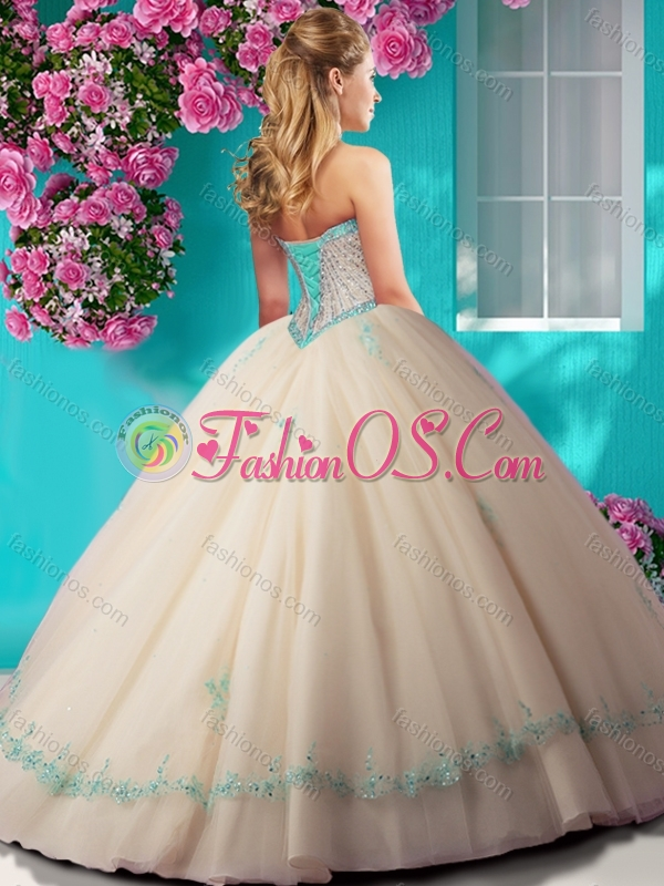 Elegant Beaded and Applique Tulle Quinceanera Dress in Champagne