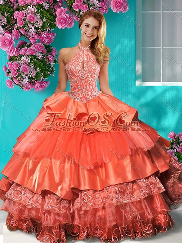 Gorgeous Halter Top Brush Train Quinceanera Dress with Beading and Ruffles Layers