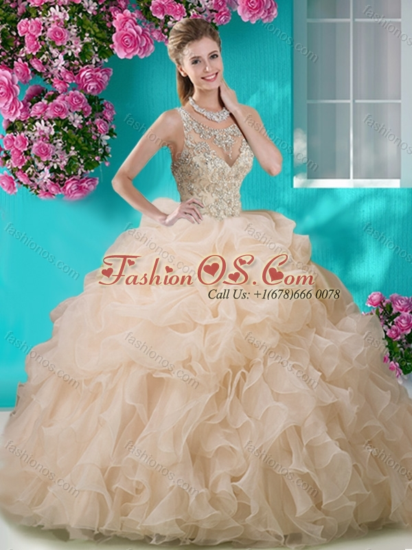 Perfect Brush Train Scoop Peach Quinceanera Dress with Beading and Ruffles