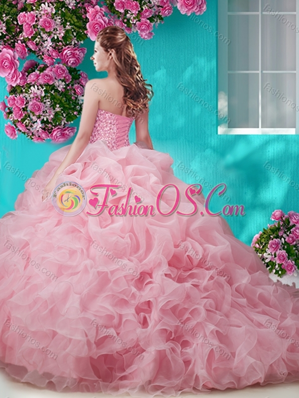 Perfect Flirting Brush Train Really Puffy Quinceanera Dress with Beading and Ruffles