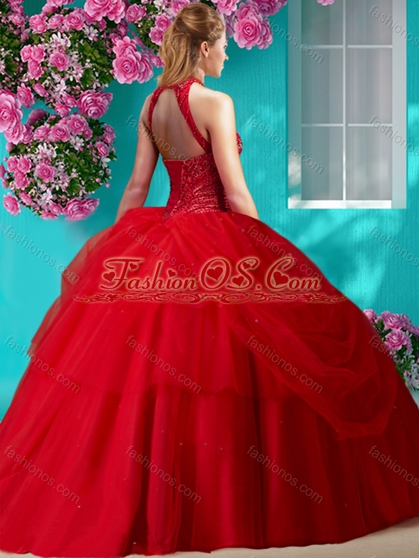 Perfect Halter Top Beaded and Applique Quinceanera Dress in Orange Red