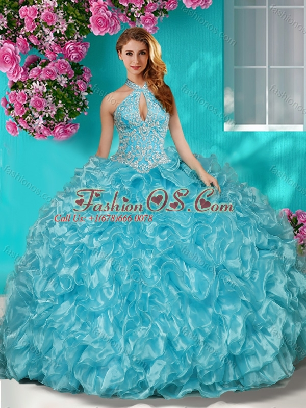 Perfect Sophisticated Halter Top Puffy Skirt Quinceanera Dress in Beading and Ruffles