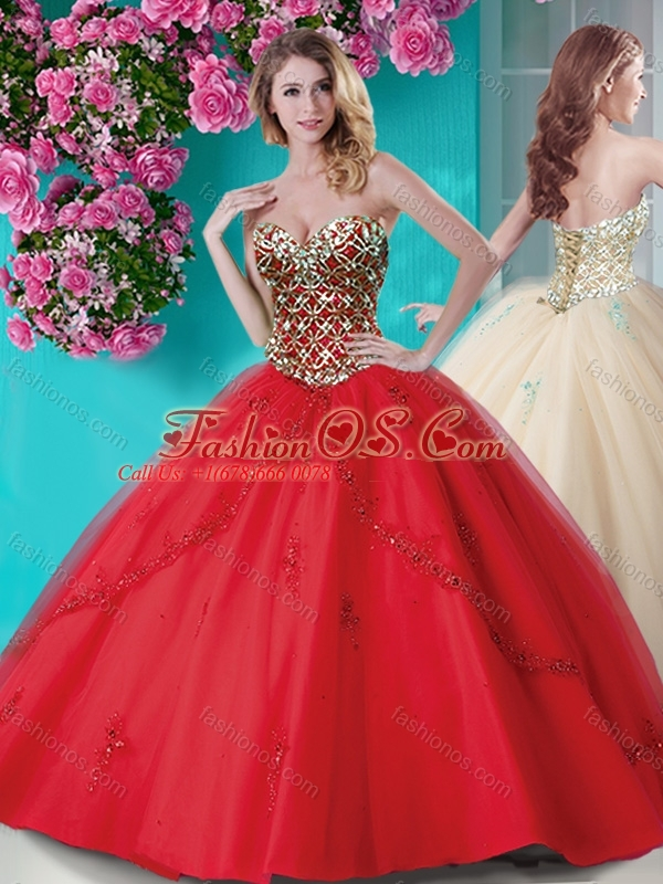 Popular Applique and Rhinestoned Big Puffy Quinceanera Dress in ...