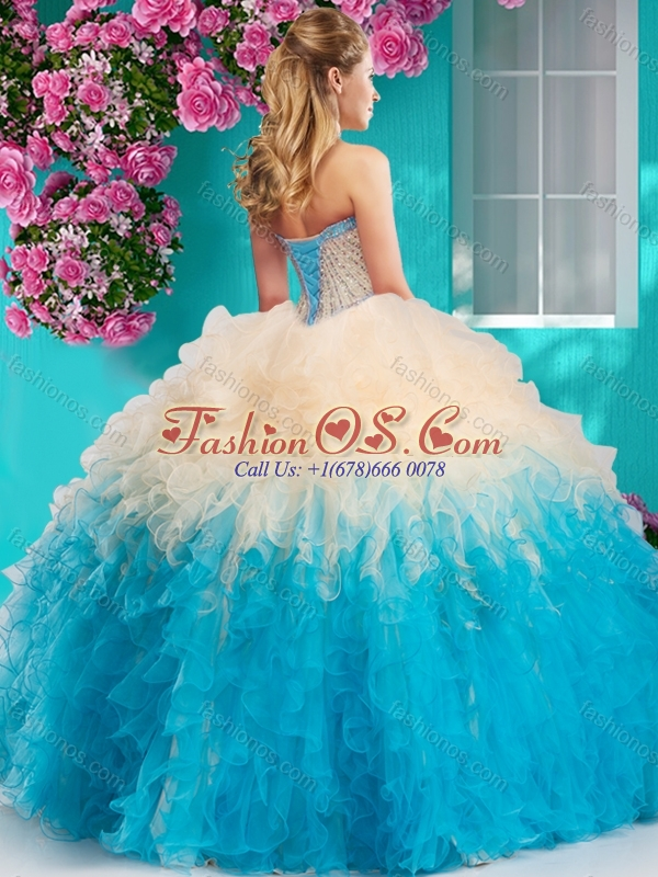 The Super Hot Gradient Color Big Puffy Quinceanera Dress with Beading and Ruffles