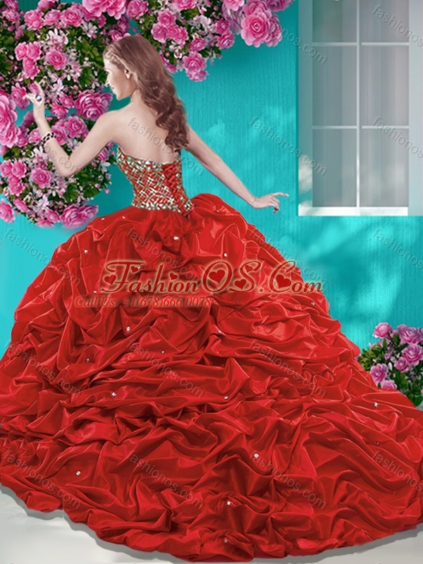 Unique Beaded and Ruffled Quinceanera Dress with Brush Train