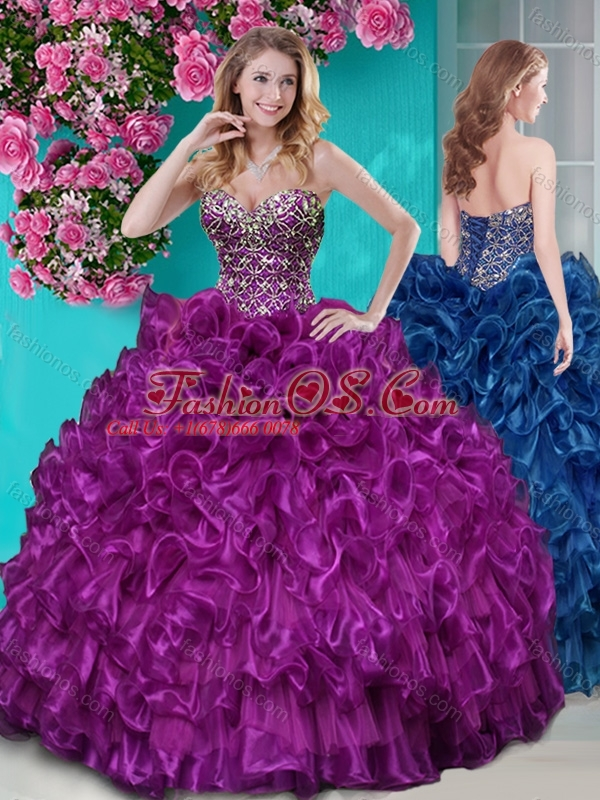 Unique Puffy Ruffled and Rhinestoned Quinceanera Dress with Blue Beading